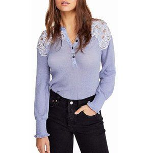 Free People Easy Breezy Blue Floral Lace Henley S